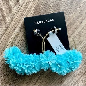 Baublebar Flower Pom Pom Gold Hoop Earrings